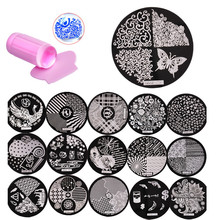 30Pcs Nail Stamping Plates Stencils For Nails 1Pcs Pink Jelly Stamper Scraper For Template Scraper Stamp Nail Art Set Kits(China)
