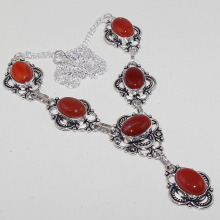 Carnelian  Necklace  Silver Overlay over Copper ,50.5 cm, N0779