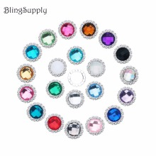 Free shipping 20mm acrylic crystal rhinestone buttons flatback embellishment can mix colors 100PCS/lot(BTN-5543)(China)