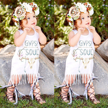 New Summer Baby Girls Floral Tassels Dress White Baby Kids Girls Dress Party Sleeve Dress Sundress Outfits One-piece