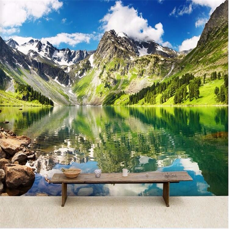 Custom photo wall wallpaper 3d luxury high quality snow mountain natural style 3d living room bedroom wallpaper for walls 3 d<br><br>Aliexpress