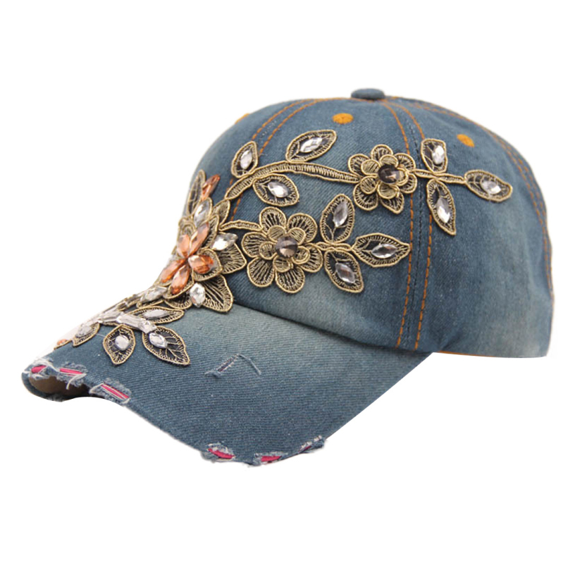 Best Deal Good Quality 2015 New Fashion Women Diamond Flower Baseball Cap Summer Style Lady Jeans Hats 1pcs<br><br>Aliexpress