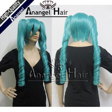 Anangel Kuroshitsuji Ciel Phantomhive scallion green culy long wave ponytails cos cosplay costme wig free shipping
