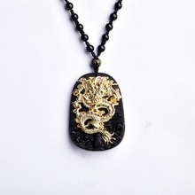 Wholesale Gold Natural Black Obsidian Carving Dragon Lucky Amulet Pendant Necklace For Women Men pendants Jadee Jewelry(China)