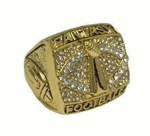 Fantasy Football Championship Ring Lombardi Super Bowl Logo Diamond and Gold in Size 9(China)