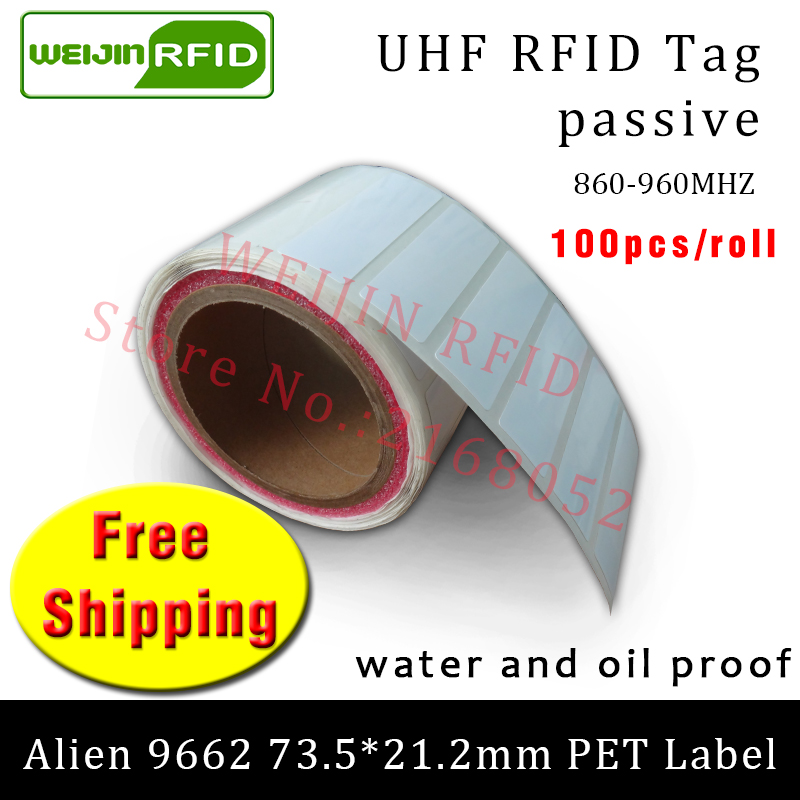 UHF RFID tag EPC 6C sticker Alien 9662 printable PET label 915mhz868mhz Higgs3 100pcs free shipping adhesive passive RFID label<br>