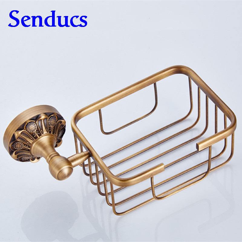 Free shipping Senducs wall mounted brass toilet paper holder with bathroom antique sanitary paper holder for hot sale<br>