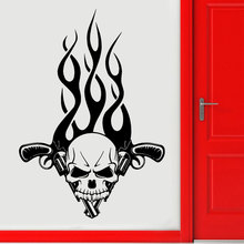 Skull And Guns Fire Gothic Tribal Decor Plane Wall Stickers Vinyl Self Adhesive Door Decals Living Room Murals Wallpaper Z104(China)