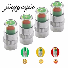 jingyuqin 4pcs In 1 Set general Car Auto 2.4bar Tire Pressure Monitor Valve Stem Caps Sensor 3 Colors Indicator Eye Alert