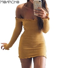 MOARCHO Autumn Sexy Off Shoulder dress 2017 Women Elegant Ruffles long sleeve short mini dresses Casual Knitted bodycon Dress(China)
