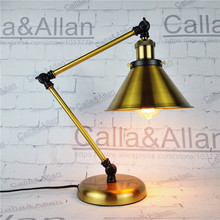 Brass finished iron shade desk light with switch and plug study lighting E26/E27 UL/CE bronze night lamp for bedroom study room