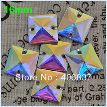 Free Shipping, 100pcs/Lot, 16mm Crystal AB / Clear AB Square sew on stones flat back resin sew on rhinestones(China)