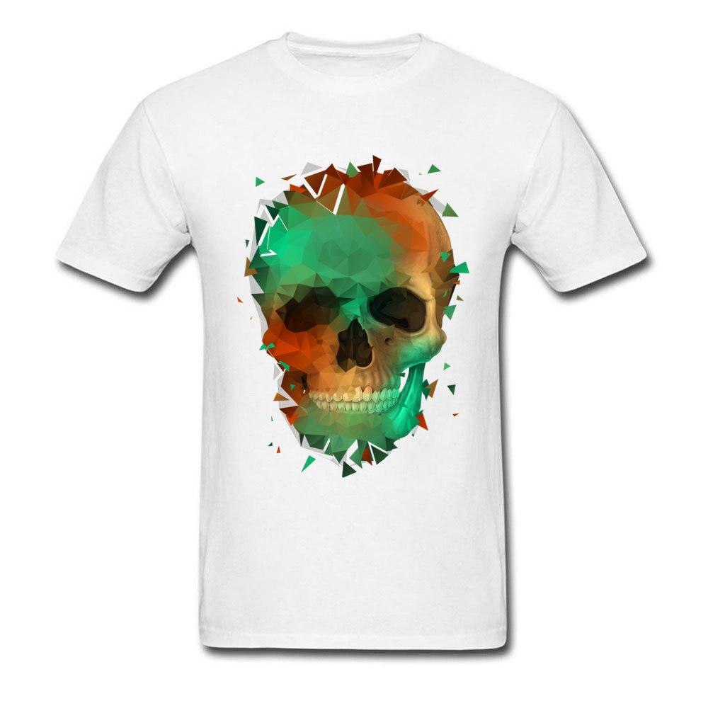 Geometry Reconstruction Skull 100% Cotton Tees for Men Design T Shirts comfortable Prevalent O-Neck Tops Shirts Short Sleeve Geometry Reconstruction Skull white