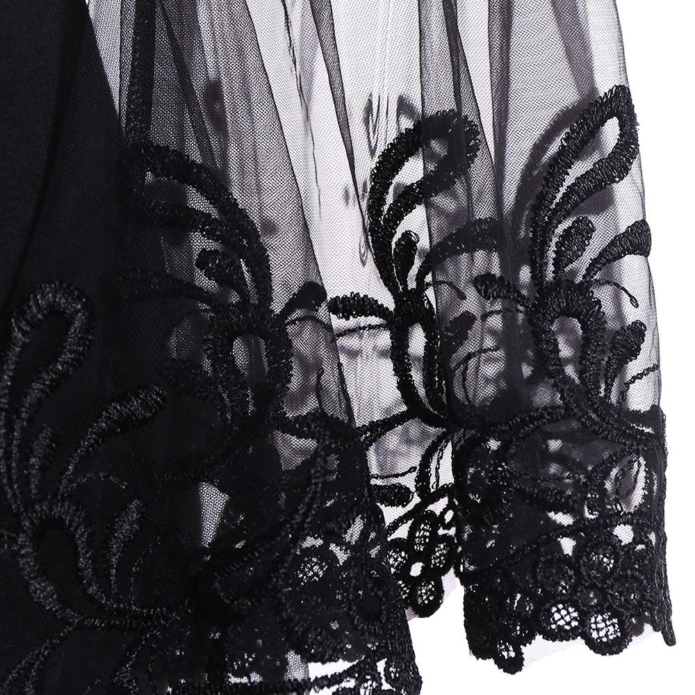 VESTLINDA Lace Flare Sleeve Sheer Panel Blusa Top Women Blouse Shirt Blusas Mujer 2017 Plus Size Women Clothing Summer Blouses 13