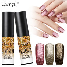 Ellwings 1pcs 12 Color Shimmer Platinum Gold Gel Lacquer Long Lasting Glitter Nail Gel Polish Soak Off Shining UV Gel Varnish