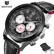 Buy BENYAR Men's Chronograph Sport Watches 3ATM Water Resistant Date Aviator Genuine Leather Band Wristwatch Gift relogio masculino for $27.99 in AliExpress store