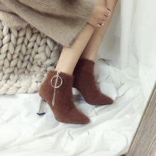 2018 spring and autumn new shoes Paul warm round high-heeled leopard cashmere boots with electric boots purse short boots(China)