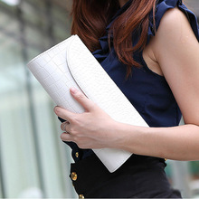 New Crocodile Leather Clutch Evening Bag Chain Banquet Bag Handbag Diagonal White Women Crossbody Bags Shoulder Bag