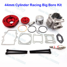 Red 44mm Cylinder Racing Big Bore Kit Set 2 Grooves For 47cc 49cc Mini Moto Dirt ATV Pocket Bike Minimoto Motorcycle Motocross