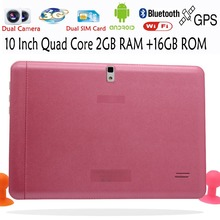 Original Quad Core 10 Inch 3G Phone Call Android Tablet pc Android 4.4 2GB RAM 16GB ROM WiFi FM Bluetooth 2G+16G Pink Edition(China)