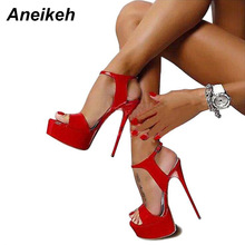 Aneikeh Hot Sales 2017 Summer Style Sexy 16cm Women Sandals High Heels Open Toe Buckles Nightclub Shoe Black Big Size 9