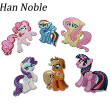 Han Noble Mix Horse Embroidered Patches Iron on or Sewing for Clothes Kids Party Decoration Applique Diy Accessory P178 6pcs