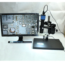 1080P HDMI Video Industry Microscope Camera+Optical 10X-180X C-mount Lens+LED+360 Freely Adjustable Angle Maintenance Table