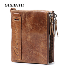 GUBINTU Genuine Crazy Horse Leather Men Wallet Short Coin Purse Small Vintage Wallets Brand High Quality Designer carteira