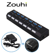 High Speed 7 PORTS USB 3.0 HUB 5 Gbps With Power On/Off Switch Light Adapter Cable For PC Laptop Notebook EU,OTG Hub