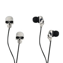 Unique Design 3.5mm In-ear earphone High Performance Metal skull Earphones