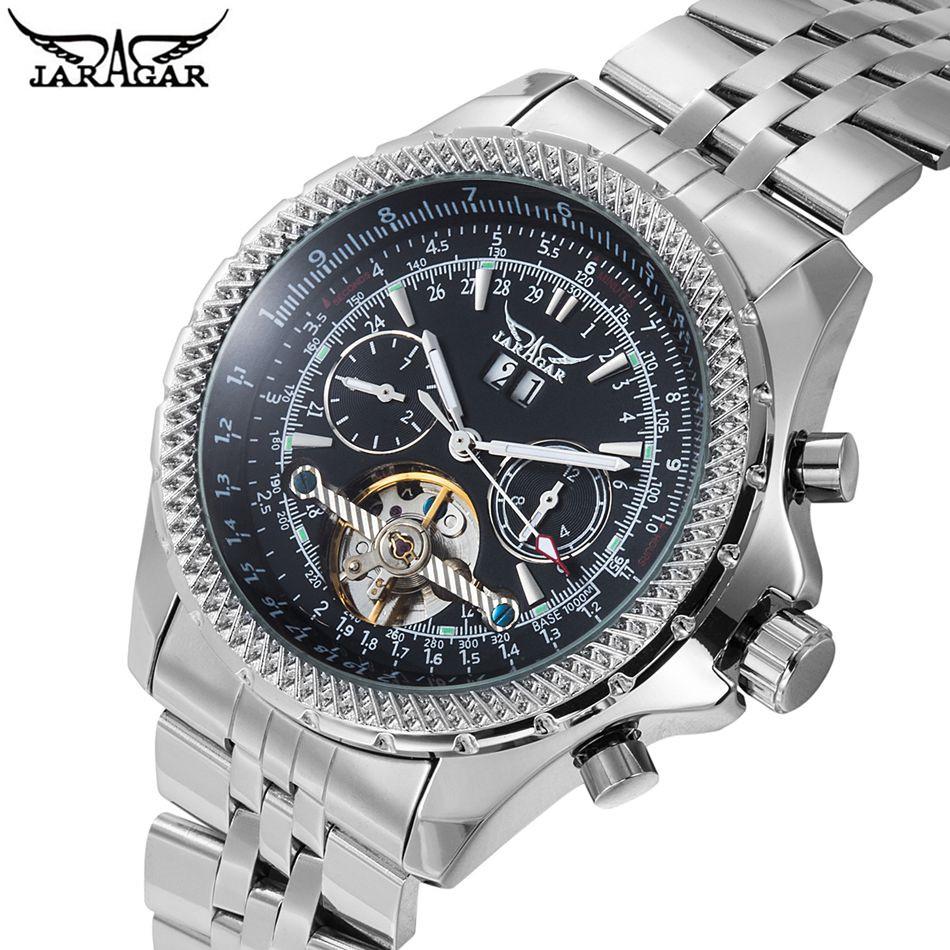2017 JARAGAR New Watches Men Tourbillion Day White Dial Automatic Mechanical Watch Wristwatch+Gift Box Free Ship<br>
