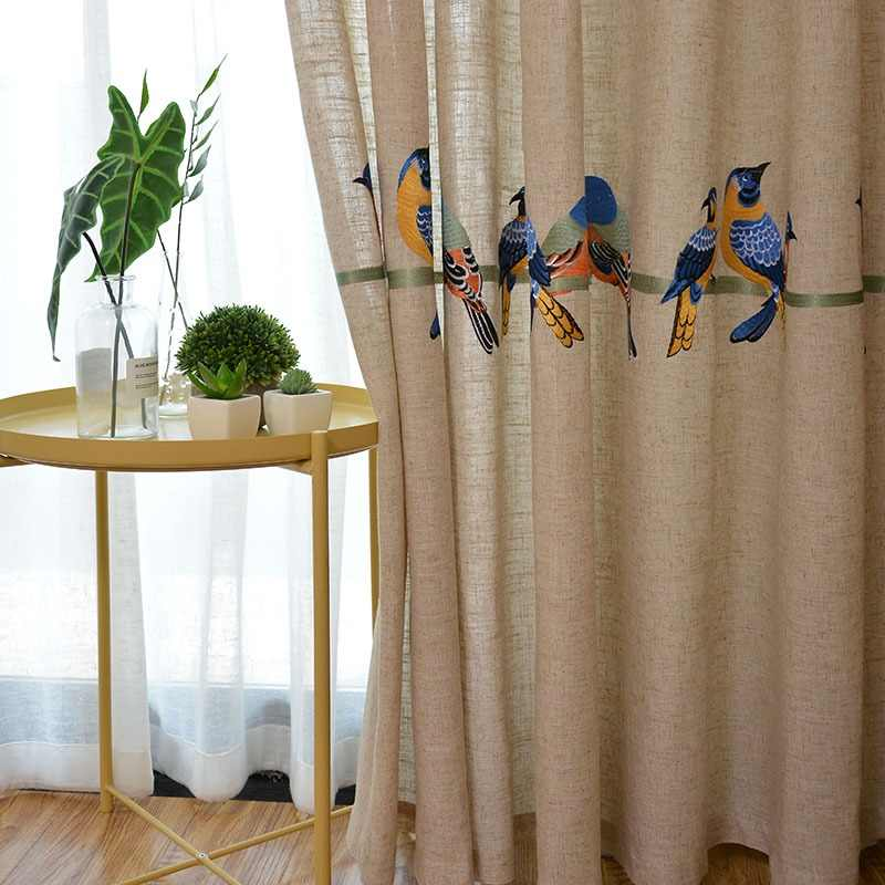 Cotton Linen Curtains for Living Room Bedroom Pastoral Curtain with Embroidery Birds White Tulle Sheer Curtain Window Treatment