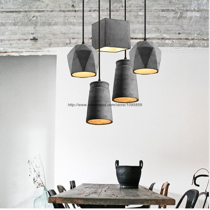 Cement Pendant Light Fixture Ceiling Lamp Bar Hanging Lighting arana de luces cemento<br>