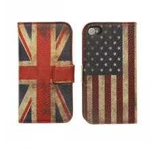 UK USA Flag Case For Apple iPhone 4S Leather Phone Cases Cover Mobile Phone Accessory Etui Capinahs Coque Carcasa Hoesjes Capa(China)