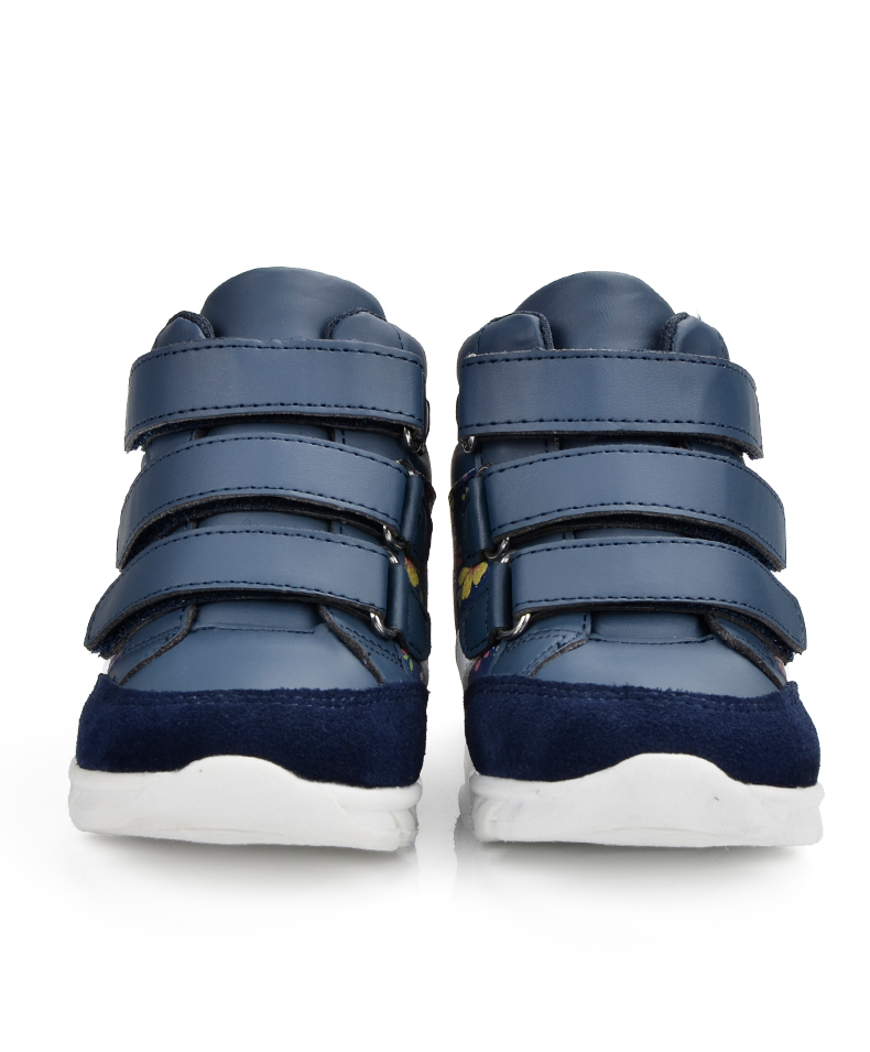 ULKNN Children Shoes For Girls Sneakers Massage Running Sport Shoes Genuine Leather Kids Sneakers Print Fashion Blue Size 20-25 (5)