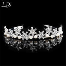 DODO Romantic Snowflake Design Princess Crown For Women Simulated Pearl & Crystal Tiara Wedding Hair Accessories Jewellery HF043(China)