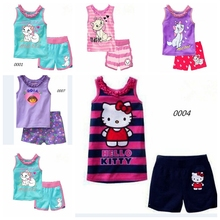 summer Children's clothing sets Fashion Kitty/dora/cat cartoon printing Baby girl pajamas suit sets cotton shirts+casual shorts