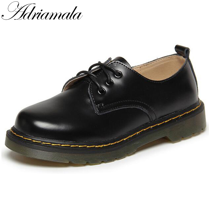 Adriamala Women Leather Retro Shoes Autumn Spring Fashion Lace Up Casual Shoes Brand Designer Ladies Low Heels Shoes 2017<br>
