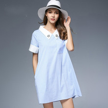 2017 New Summer Dress Women Sky Blue Striped Casual High Quality Peter Pan Collar Dress(China)