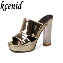 New summer women high heel platform sandals pu leather sexy peep toe slippers gold silver purple chunky heels night club shoes