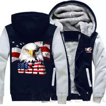Dropshipping For Men Women Eagle American Flag Streetweart Hoodies Zipper Sweatshirts Jacket Luminous Winter Thicken Coat(China)