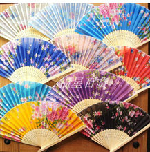 Cheap Lightweight Women Silk Folding Fan Portable Chinese floral Hand Fans Wedding Party Favor 50pcs/lot Free shipping