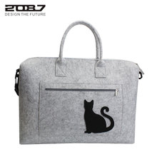 2087 Brand New Women Shoulder Bag Felt Large Handle Bags 15'' Computer Bags Cute Cat Women High Quality Crossbody Bag For Female(China)