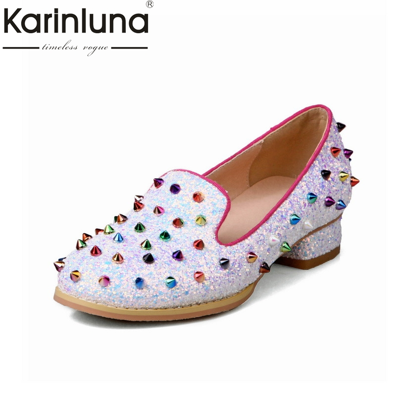 Karinluna 2018 Spring Autumn Brand Colorful Rivet Pumps Shallow Plus Size 32-48 Shoes Woman slip-on Fashion Casual Shoes Women<br>