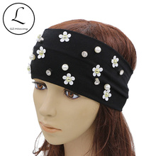 GZHILOVINGL 2017 Hot New Summer Headwear Black Stretch Wide Cotton Headband Hair Accessories Pearl Flower Headbands High Quality