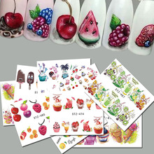 18pcs Sweets Ice Cream Summer Nail Sticker Mixed Colorful Fruit DIY Water Decals Nail Art Decorations Manicure Tool TRSTZ471-488