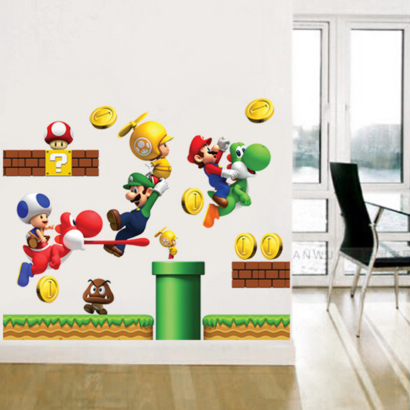 Vinyl Removable Wall Stickers Sticker Home Decor S GIANT Big Super Mario Bros Children Removable Wall Box Stickers Home(China)