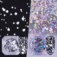 1.5g Mixed Size Holographic Silver Nail Flakies Round Glitter Nail Sequins Paillette Manicure Tips Decoration