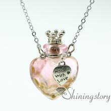 heart aromatherapy jewelry scents oil diffusing necklace small perfume bottle pendant necklace diffusers small glass bottles