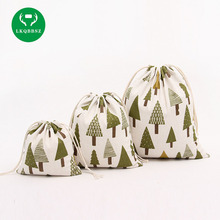 LKQBBSZ Trees Cotton Linen Storage Bag Eco-Friendly Shopping Tea/candy/key Package Drawstring Bag Small Cloth Bag Christmas Gift